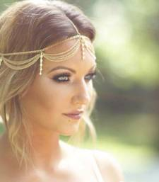 Buy Gold chains and pearl hangings mathapatti headgear hair-accessory online