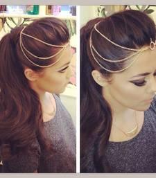 Buy Gold chains plain circle mathapatti hair-accessory online