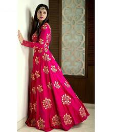 Buy Pink tafeta embroidered semi stitiched party wear gowns party-wear-gown online