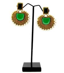 Buy Rectangular Semicircle Stone Earrings - Green danglers-drop online