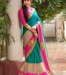 Buy Pink embroidered tissue half & half saree with blouse tissue-saree online