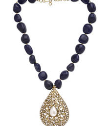 Buy Blue Onyx Stones and Pearl Jadau Polki Pendant Necklace Necklace online
