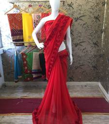 Buy Blood red woven georgette saree with blouse indian-dress online