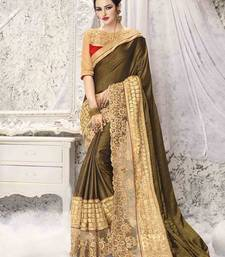 Buy Olive embroidered satin saree with blouse wedding-saree online