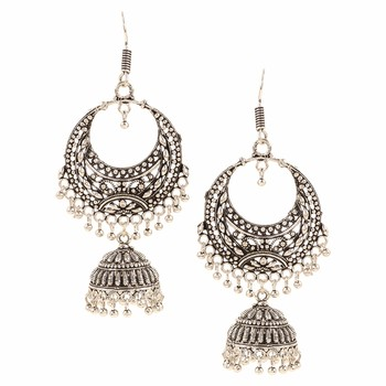 Silver plated stylish fancy party wear dangler earrings jewellery for girls and women