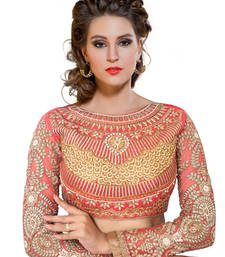Buy Red art silk and net embroidered stitched blouse readymade-blouse online