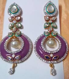 Buy Ethnic AD CZ Enamel Fusion Earrings danglers-drop online