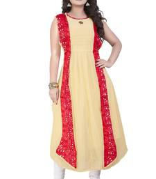 Buy Cream plain georgette kurti party-wear-kurti online