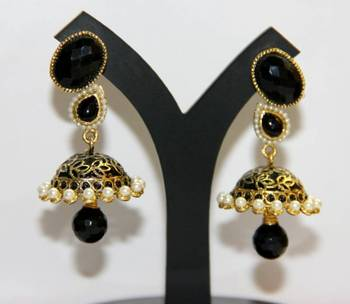 BEAUTIFUL BLACK MEENAKARI JHUMKA