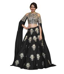 Buy Black raw silk embroidered semi stitched lehenga choli lehenga-choli online