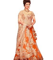 Buy Orange embroidered silk unstitched lehenga lehenga-choli online