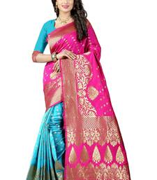 Buy Multicolor hand woven chanderi silk saree with blouse chanderi-saree online