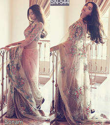 Buy Beige embroidered net saree with blouse bollywood-saree online