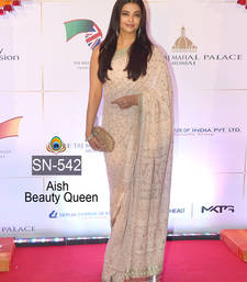 Buy White embroidered georgette saree with blouse bollywood-saree online