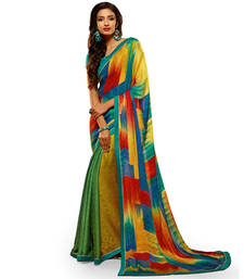 Buy Multicolor Printed Work Crepe and Jacquard saree with blouse party-wear-saree online