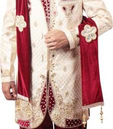 Buy Beigh embroidery jacquard regular fit sherwani with jutti jodhpuri-sherwani online