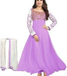 Buy Purple embroidered georgette salwar with dupatta anarkali-salwar-kameez online