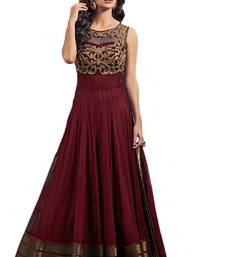 Buy Dark maroon embroidered net salwar with dupatta anarkali-salwar-kameez online
