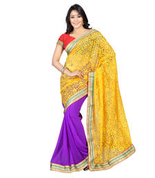 Buy Yellow Embroidered Brasso Saree With Blouse brasso-saree online
