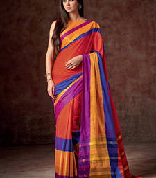 Buy Multicolor hand woven cotton saree with blouse cotton-saree online