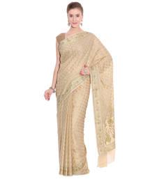 Buy Beige woven tussar silk saree with blouse banarasi-saree online