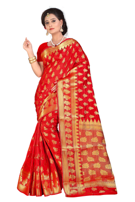 red plain banarasi_silk saree with blouse