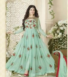 Buy Light green embroidered georgette salwar with dupatta semi-stitched-salwar-suit online
