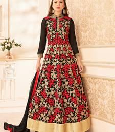 Buy Black embroidered georgette salwar with dupatta anarkali-salwar-kameez online