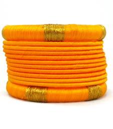 Buy Stylish and Elegant YELLOW Silk thread bangle 2.6 (12 PCS) bangles-and-bracelet online