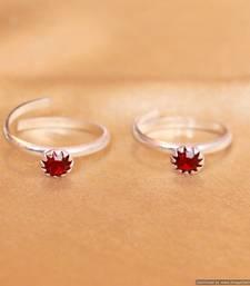Buy Red Zircon Studded Single Stone Adjustable Toe Ring toe-ring online