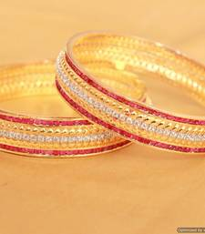 Buy Ruby Diamond Look Gold Plated Bangles bangles-and-bracelet online