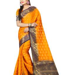 Buy Yellow printed nylon saree with blouse jacquard-saree online