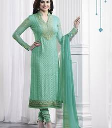 Buy Sky blue embroidered georgette pakistani salwar suit with dupatta pakistani-salwar-kameez online