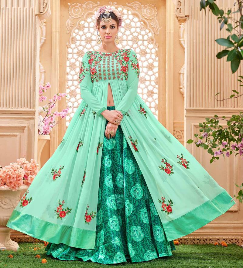 buy sea green embroidered georgette salawar with dupatta
