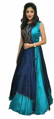 Blue embroidered faux taffeta  party-wear-gowns