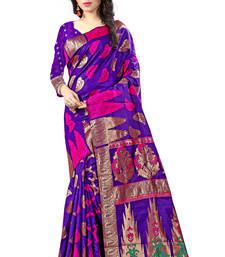 Buy Navy blue woven art silk saree with blouse uppada-saree online