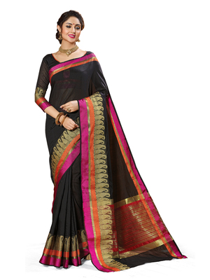 Black woven chanderi saree with blouse