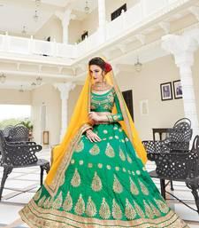 Buy Sea green embroidered silk unstitched lehenga with dupatta pakistani-lehenga online