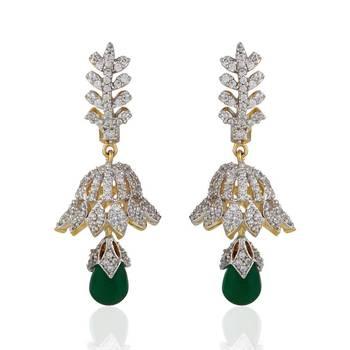 Heena Trendy Hanging Green Pearl Earings >> HJER27G <<