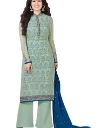 Buy Sky blue embroidered georgette salwar with dupatta semi-stitched-salwar-suit online