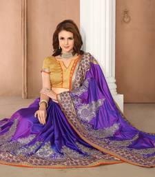 Buy Multicolor embroidered silk saree with blouse indian-dress online