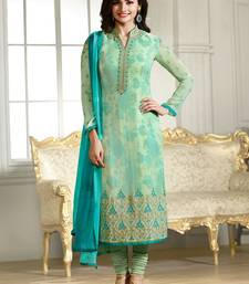 Buy Green embroidered georgette salwar with dupatta salwar-kameez-below-2000 online