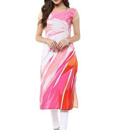 Buy Pink floral print crepe stitched kurti multicolor-kurti online