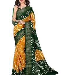 Buy Yellow printed art silk saree with blouse bandhani-sarees-bandhej online