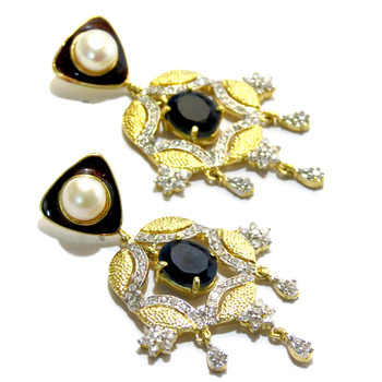 Textured American Diamond Earring