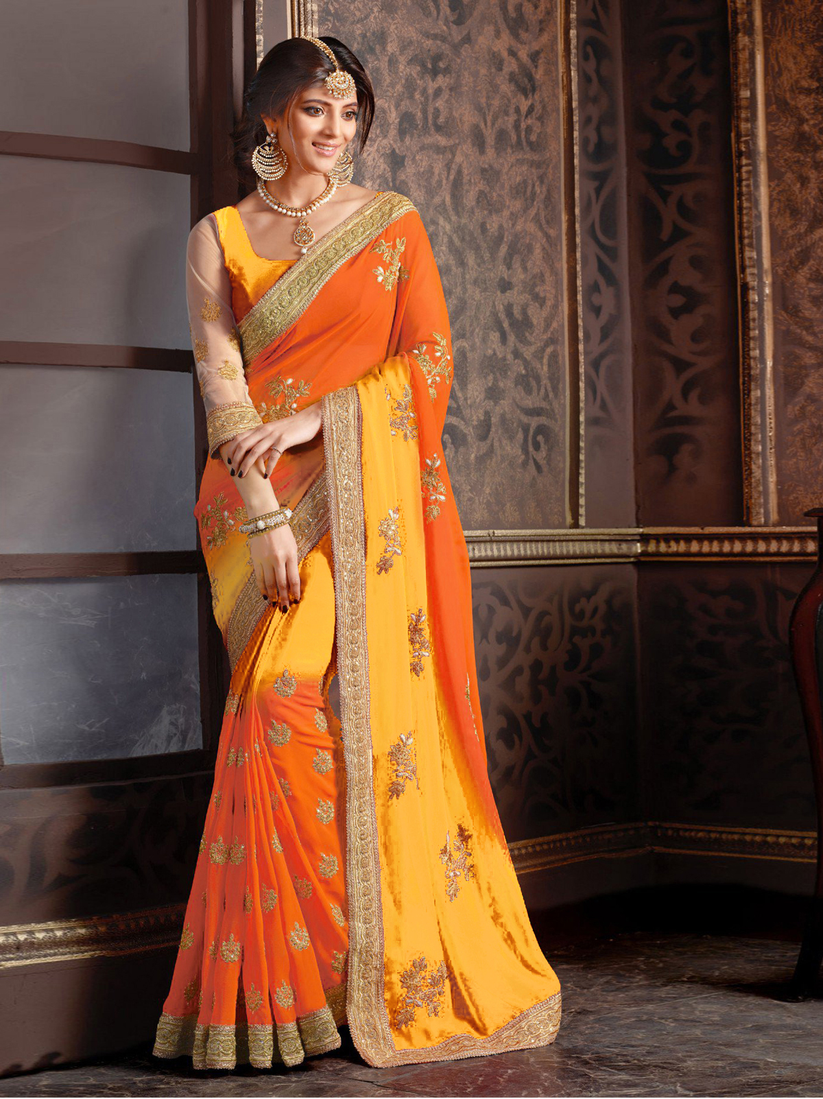 Buy Yellow Embroidered Georgette Saree With Blouse Black Friday Deal Sale Online
