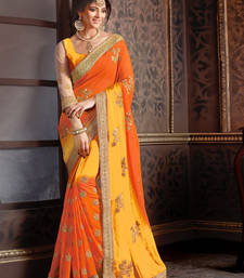 Yellow Embroidered Georgette Saree With Blouse Wedding Online