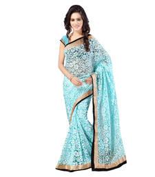 Buy turquoise brasso brasso saree with blouse brasso-saree online