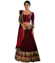 Buy maroon silk embroidered semi stitched  lehenga choli  with dupatta   (Premium quality) lehenga-choli online