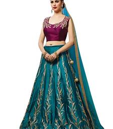 Buy Light blue embroidered silk unstitched lehenga with dupatta lehenga-below-3000 online